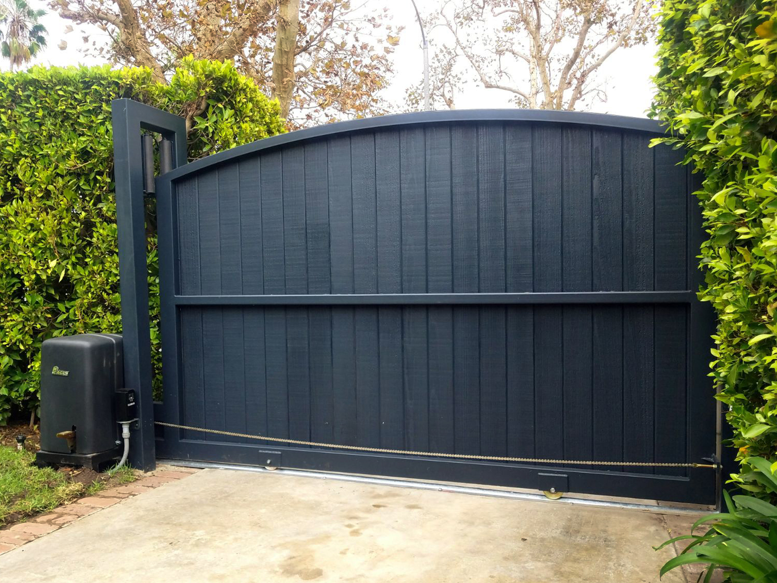 Automatic Driveway Gate Installation Automatic Entry Gates Automatic Gates  Black Wood Fencing And Gates Intercom Security Camera Gates Pedestrian  Gates ...
