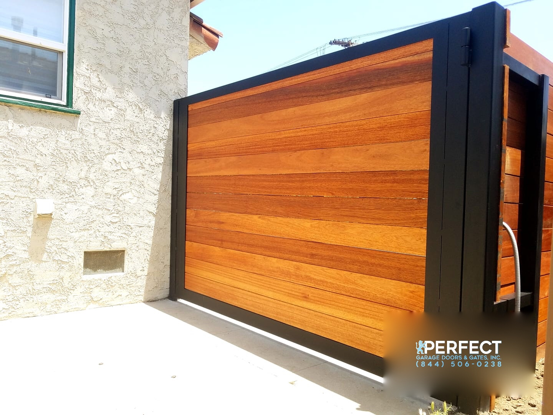 Custom Steel Frame Kayu Wood Automatic Driveway Gate Los Angeles Perfect Garage Doors Gates Inc